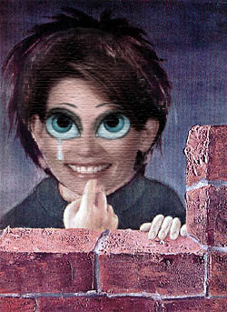 Michele Bachmann, as done by Alicia Morgan in the style of Margaret Keane