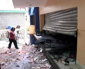 Wrecked store at UNAH-8-7-09 Honduras