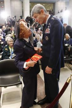 WASP Betty Wall Strohfus and USAF Chief of Staff Gen. Norton Schwartz, March 10, 2010