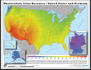 NREL data - photovoltaic solar resources - US and Germany